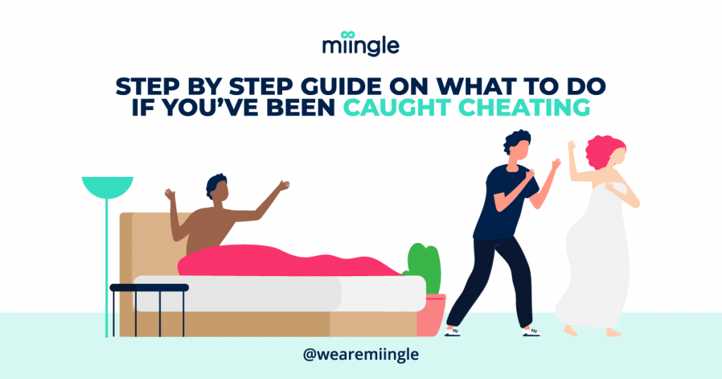 illustration showing one person in bed and two people walking out of the room because one has been caught cheating