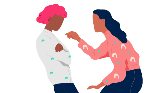 a black woman with pink hair and a grey jumper being pointed at by a brown woman with navy blue hair and a pink jumper and dark blue jeans. Gaslighting phrases to look out for.